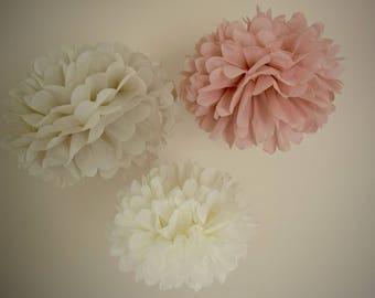 Vintage Blush Pink, Paper Tissue Poms, Nursery Decoration, Tissue Paper Wedding Flowers, Baby or Bridal Decoration