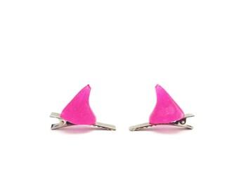 Neon Pink Resin Devil Horn Hair Clips