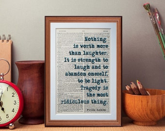 Frida Kahlo quote  - dictionary page literary art print home decor present gift books