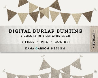 Digital Burlap Bunting or Flags for invites, scrapbooking, printing, blog graphics, clip art ClipArt, Instant Download, Commercial Use