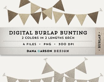 Digital Burlap Bunting Or Flags For Invites Scrapbooking Printing Blog Graphics Clip Art ClipArt Instant Download Commercial Use