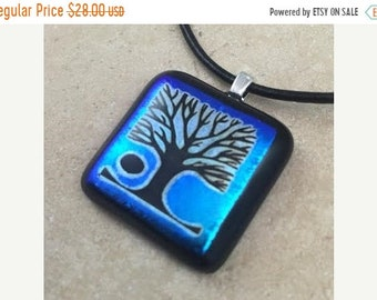 ON SALE Tree of Life Necklace, Blue Dichroic Pendant, Fused Glass Jewelry, Dichroic Glass Jewelry, Dichroic Pendant Necklace - HEA159