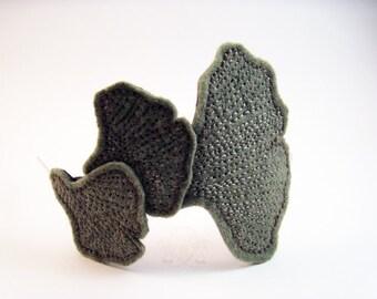 Autumn Wind - Green Ginkgo Leaf Hand Embroidered Felt Headband