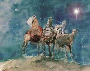 "3 Wise Men, Watercolor, 12""x18"", Print"