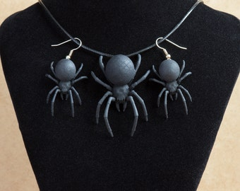 Set to order. Black Widow set. The set includes a pendant and earrings. Goth jewelry set  black widow earrings pendant necklace set