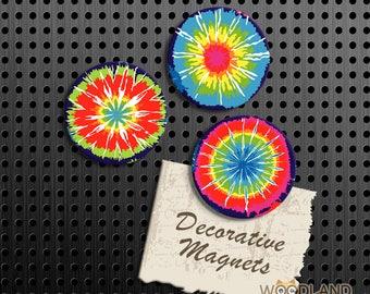 "Tye Dye Magnets, Retro Gift Set, 1.5"" Fridge Magnet, Set of 3 Handmade Wood Refrigerator Magnets, Kitchen Decor, 70's Hippie Magnets"