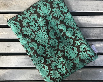 """Travel wet bag 10""""x13""""-Chocolate and Teal Damask-optional strap available"""