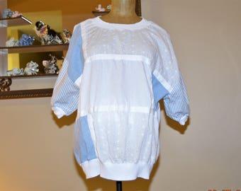 SALE Patchwork Blouse,Soft Light Blue Denim Chambray,White Eyelet ,White Stripes Boxy Oversized Shirt, by Lady Caribou sz. 1 X Plus size