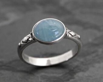 Aquamarine Dream Ring Solid Sterling Silver, Aqua Oval Ocean Gemstone Statement Ring March Birthstone Blue Jewel Aquamarine Cabochon Ring