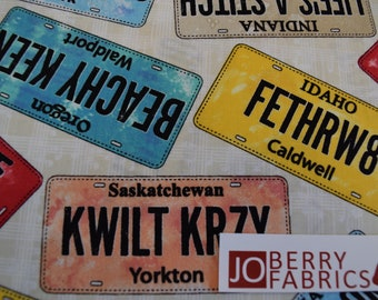 License Plates from the 2018 Row by Row Collection by Debra Gabel of Zebra Patterns for Timeless Treasures, Quilt or Craft Fabric.