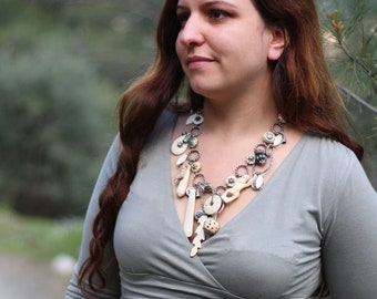 Tribal Bone Necklace, Statement Necklace, Rock, Bone and Creatures