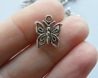 BULK 50 Butterfly charms antique silver tone A334