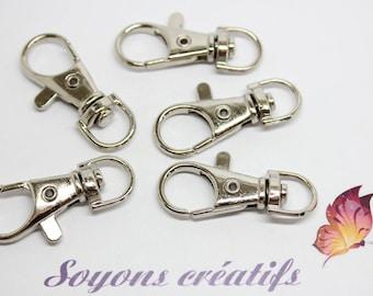 lot 5 lobster Keychain jewelry bag metal silver tone 38x16mm