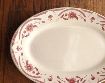 Oval Serving Platter, Vintage Diner Restaurantware Plate, Large Glass Plate, 1947 Warwick Platter, Burgundy Red Off White Flower Platter,