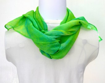 Silk Scarf, Chiffon Scarf, Hand dyed Scarf, 62 x 10 inches, Made in Australia, Ready to Ship, Gift for her, SallyAnnesSilks  S194