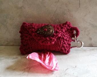 Dog Poop Bag Dispenser Knit Cotton Poop Bag Holder  Hand Burgundyknit Cotton Knit Fabric Coconut Button Carabiner Clasp 1 or 2 Roll Holder
