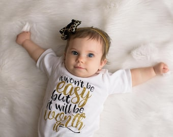 Newborn Girl Clothes, Take Home Outfit, It won't be easy, Baby Shower Gift,  Baby Girl Coming Home Outfit, Cute Newborn Girl Clothes gold