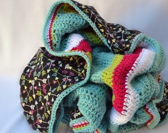 Neon arrow blanket, reversible blanket, crochet blanket, teen bedding, kids room decor, bohemian room decor ,afghan, girl crochet blanket