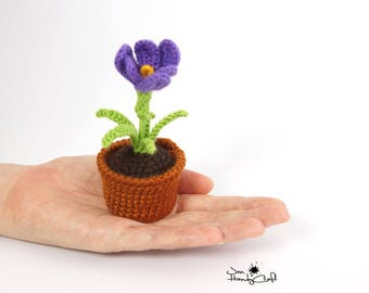 Crocus in pot Girlfriend gift Decorative flower in pot Valentines gift for her Romantic gift for her Office decor Anniversary gift for wife