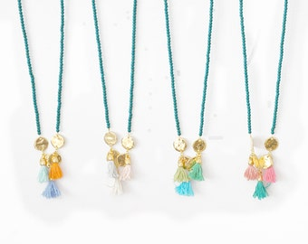 Multi Tassels Colors and Around Gold Charms with Gemstone Beads Necklace