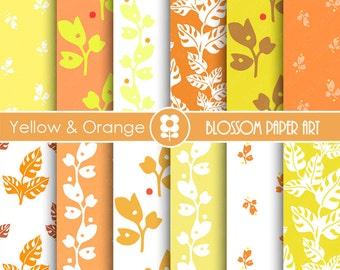 Orange Paper Pack,Yellow Digital Paper, Leaves Scrapbooking Papers - Digital Paper Pack INSTANT DOWNLOAD - 1692