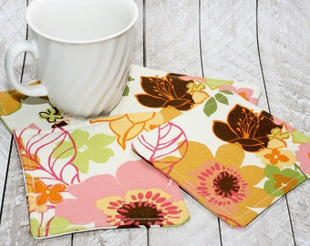Tropical Floral Print Coasters, Set of 4