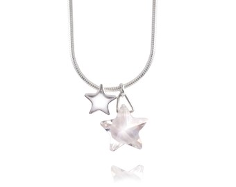 Crystal Star Sterling Silver Charm Necklace