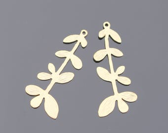 Matte gold multi leaf, tree branch pendant, connector, charms, 2 pc, K16338