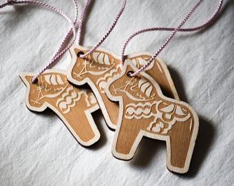Dala Horse Tags | Set of 3 | Gift tag | Laser Engraved | Laser Cutter | Wooden Tag | Scandinavian | Swedish Horse