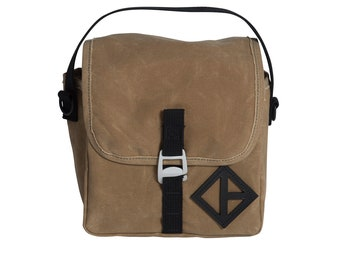Double Take- Waxed Canvas- Wheat- Beer Bag, Insulated Bag, Lunch Bag, Cooler Bag