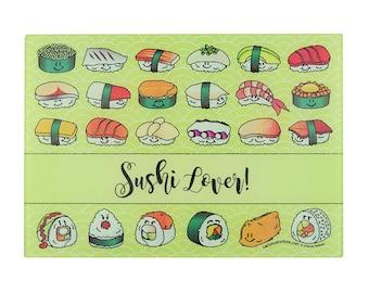 Sushi Cutting Board Sushi Lover Cutting Board Cute Sushi Gift Cutting Board Tempered Glass Small Cutting Board Idea Sushi Lover Gift Kitchen
