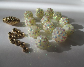 Opal Lucite Bumpy Beads with Gold Spacers and Barrel
