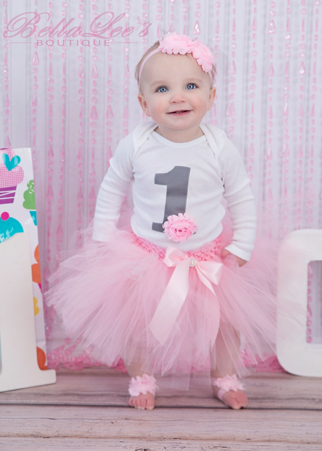 First Birthday Outfit Girl Pink and Grey Number 1 Flower