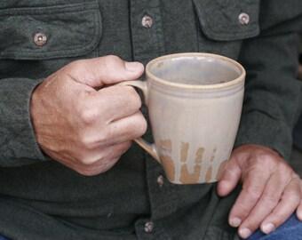 16 oz Mug, Mottled Toffee Drip Mug, Base of tan, Pearly Tan Overlay, Natural Patina High Fire Stoneware, Hand Painted, Ready To Ship