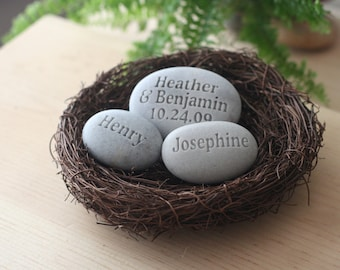 Unique housewarming gift - personalized whole family gift - set of 3 engraved stones in nest by sjEngraving