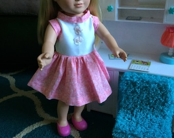 18 inch pink and white doll dress