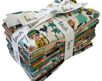 Birch Fabrics Hidden Garden Fat Quarter Bundle 14 FQs Organic Precut Cotton Fabric Quilting Miriam Bos