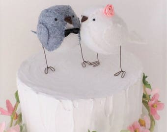Wedding cake topper, lovebirds, wedding decoration, grey and white