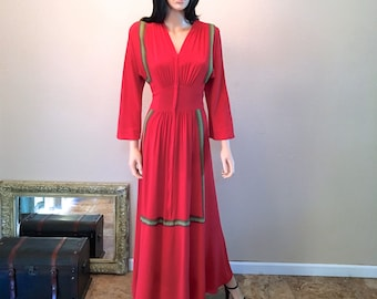 1930s Dressing Gown XXS. Tomato Red Saybury Robe. Old Hollywood Dressing Gown. Vintage Bohemian Robe. Zipper Front Long Boho Robe SZ 0