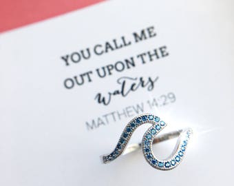Upon the Waters Ring sterling aquamarine ring wave beachy jewelry faith ring Hillsong Ministry