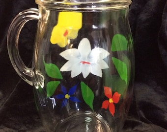 Colorful Flowers Hand Painted, Clear Glass Pitcher C.1950s