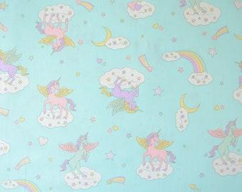 100% cotton fabric-themed unicorns and rainbows