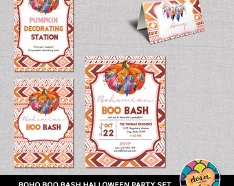 Bohemian Boo Bash Halloween Printable Party Set. Invite, Place Card, Signs. DIY Party Decor. *INSTANT DOWNLOAD*