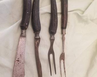 Lot of 4 Antique primitive bone handle kitchen utensils knives meat forks