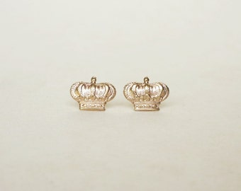 Large Brass Gold Crown Stud Earrings 925 Sterling Silver Posts,Crown Post Earrings Bridesmaid Gift Minimal Jewelry,Everyday Jewelry,Simply