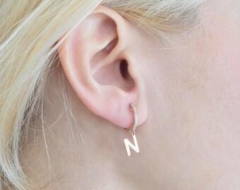 Dangle Initial Earring - Drop Letter Earring - Gold Initial Earring - Personalized Earring - Letter Earring - Earring - Mothers Day Gift
