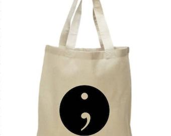 High Quality Heavy Canvas Tote Bag - Semicolon logo - Project Semicolon