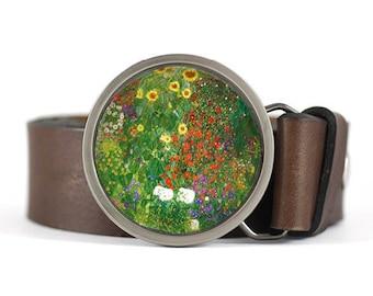Klimt Belt Buckle, Floral belt buckle, Fine art belt buckle