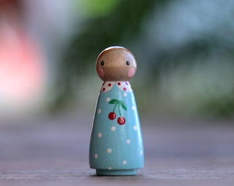 Peg Doll, Cake Topper, Cherries Peg Doll Girl, Kitschy Figurine, Peg Doll Ornament, Hand painted doll, Waldorf Toy, Blue and Red decor