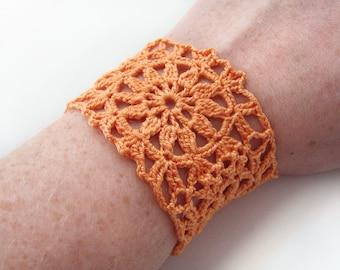 Orange Flower Motif Cuff Bracelet - Bright Tangerine Egyptian Cotton - Retro Lace Granny Square Modern Bright Hippie Boho